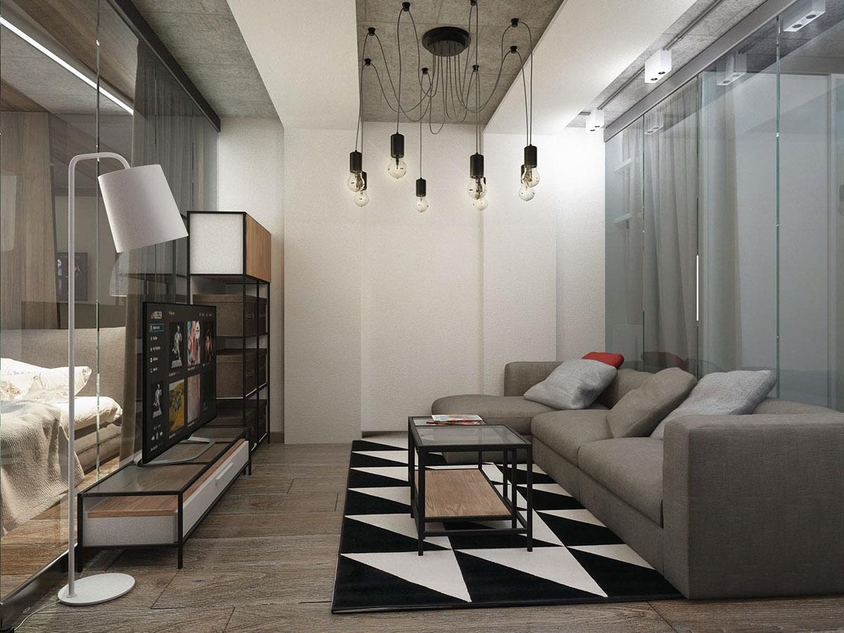 Спальня дизайн Бетон