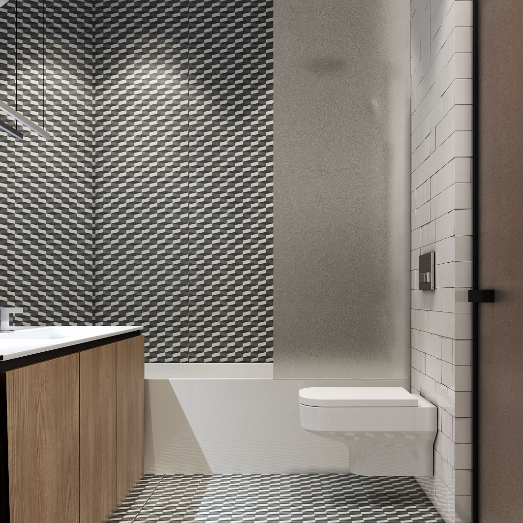 bold-geometric-tile-for-small-bathroom