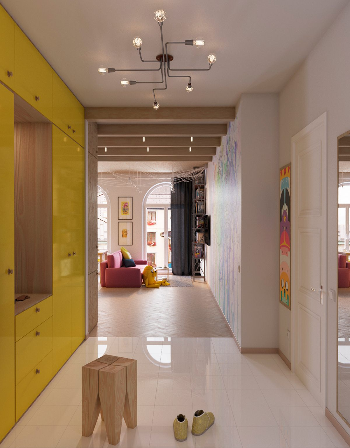 bright-yellow-entryway-cabinets