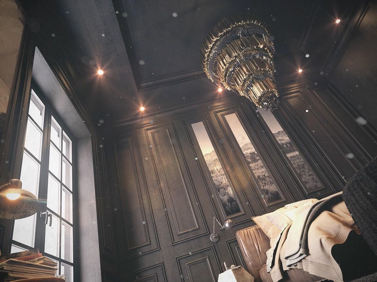 dark-vintage-bedroom-paneling