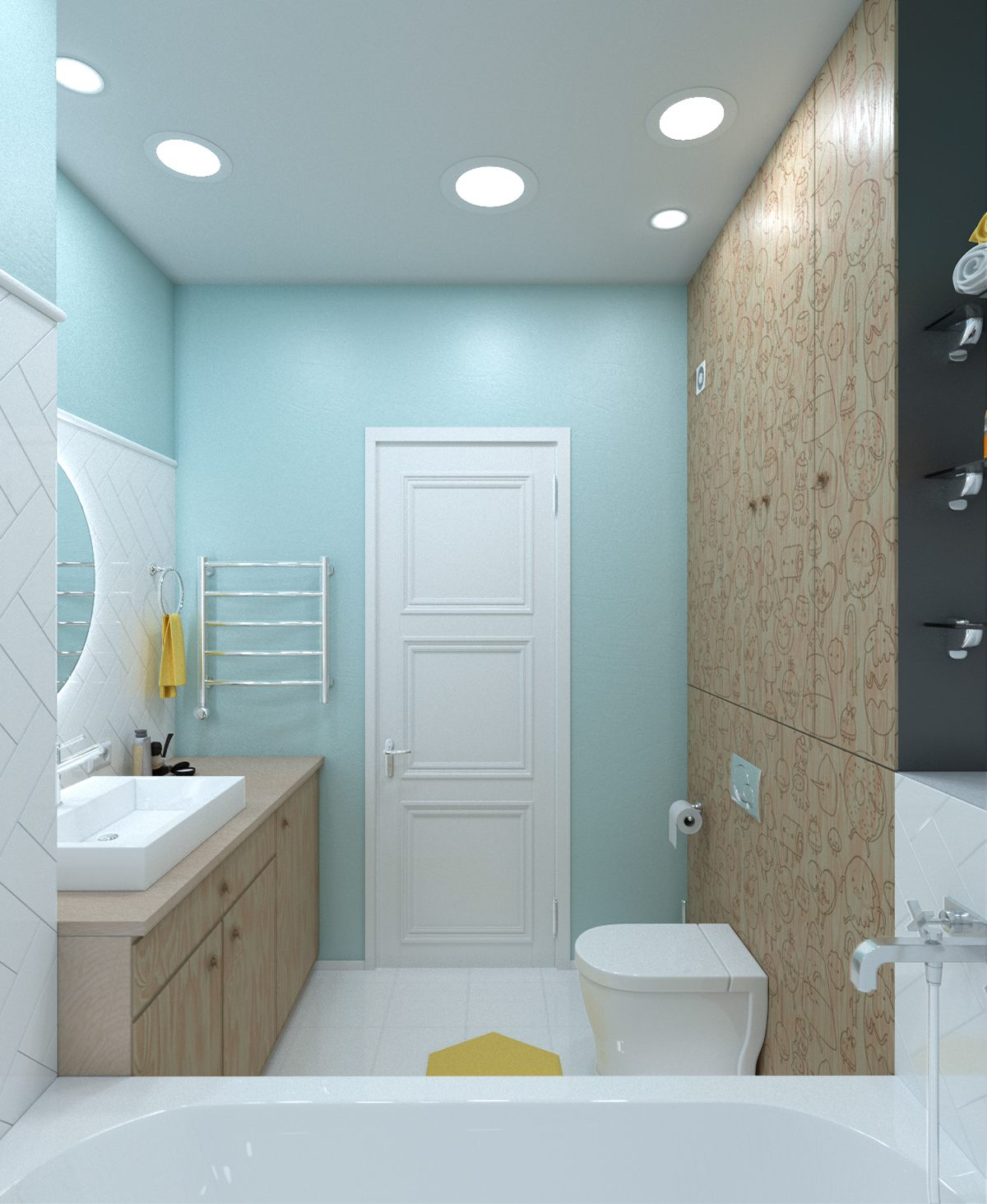 light-blue-and-yellow-bathroom-theme