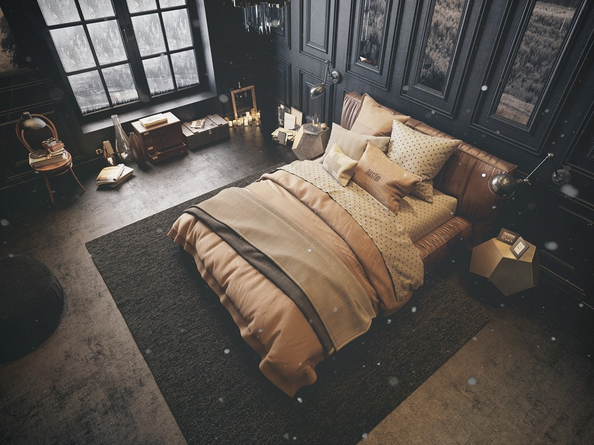 vintage-inspired-dark-bedroom